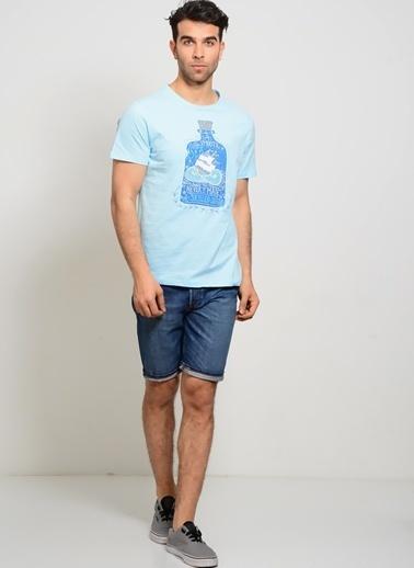 T-Box Baskılı Tişört Mavi